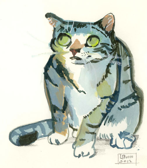 Guilty Tabby; watercolor (2012)