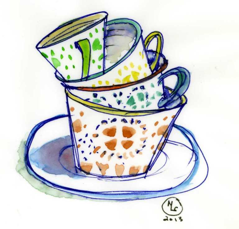 painted teacups