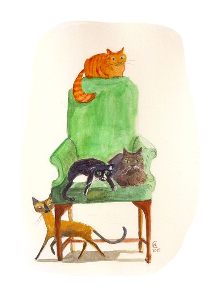 literary cats, orange cat, tuxedo cat, siamese, gray, fluffy