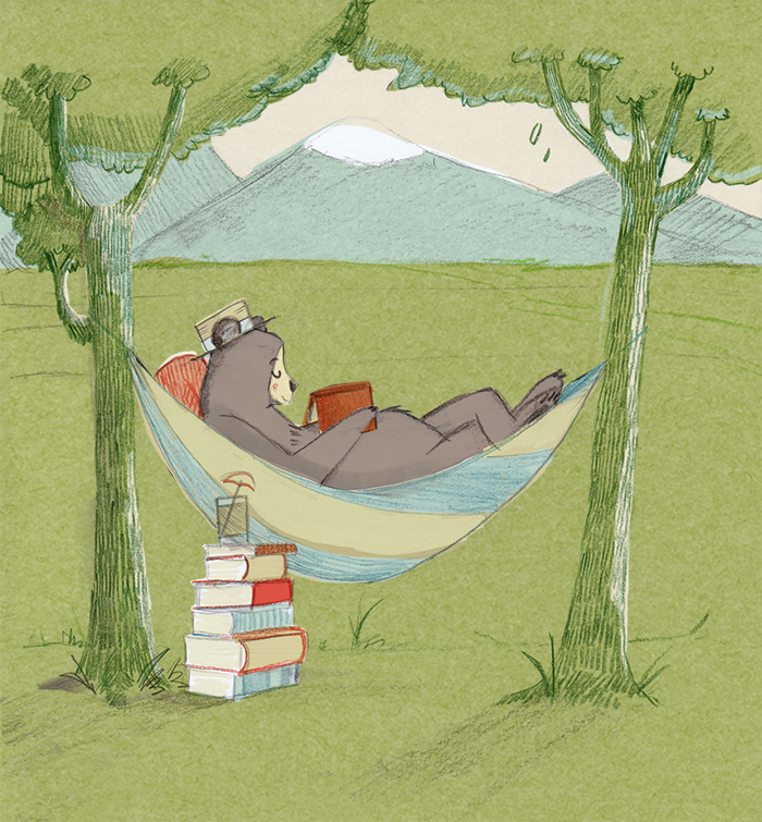 Bear vacation with books