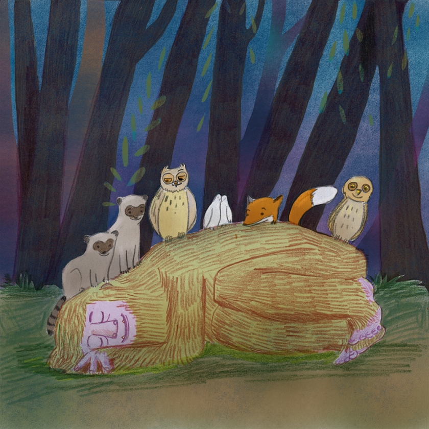 Bigfoot sleeps in nature. Nancy Lemon, illustrator