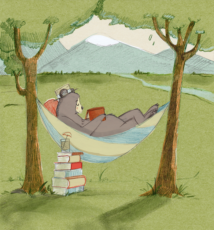 relaxing reader bear
