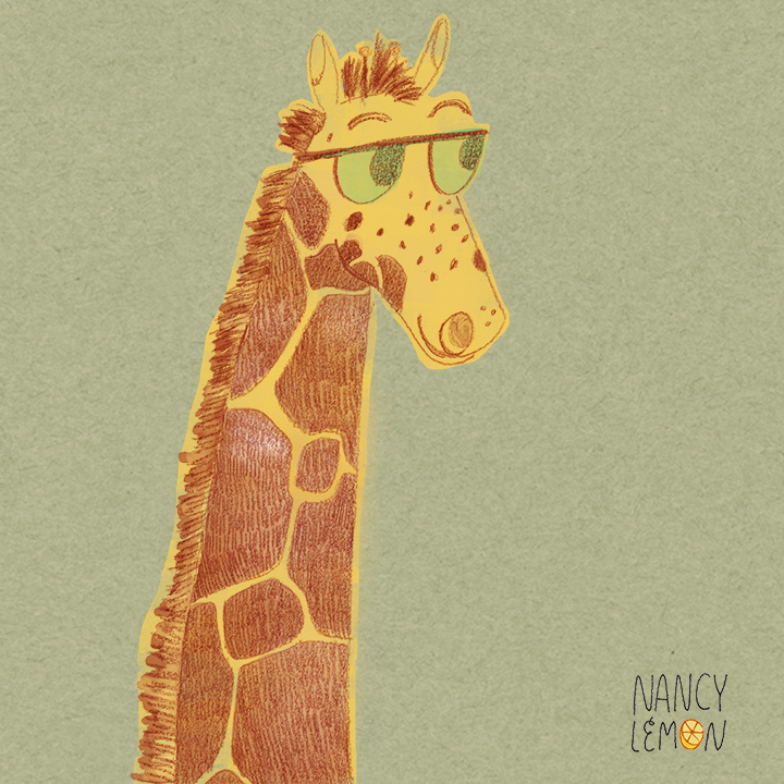 Nerdy fun giraffe illustration by Nancy Lemon ©2015