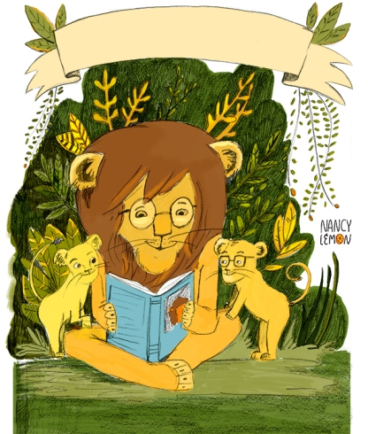 Lions-reading - Nancy Lemon ©2015