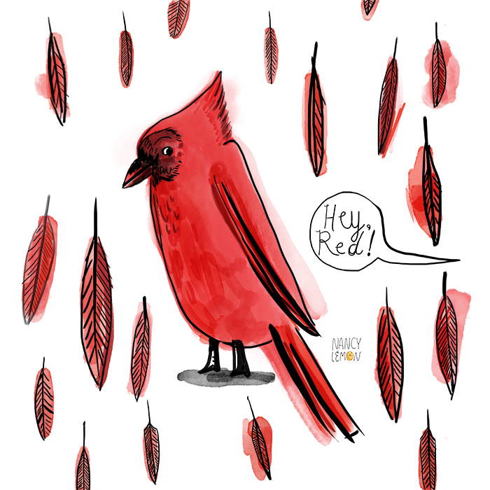 Cardinal wearing boots by Nancy Lemon Studio ©2015