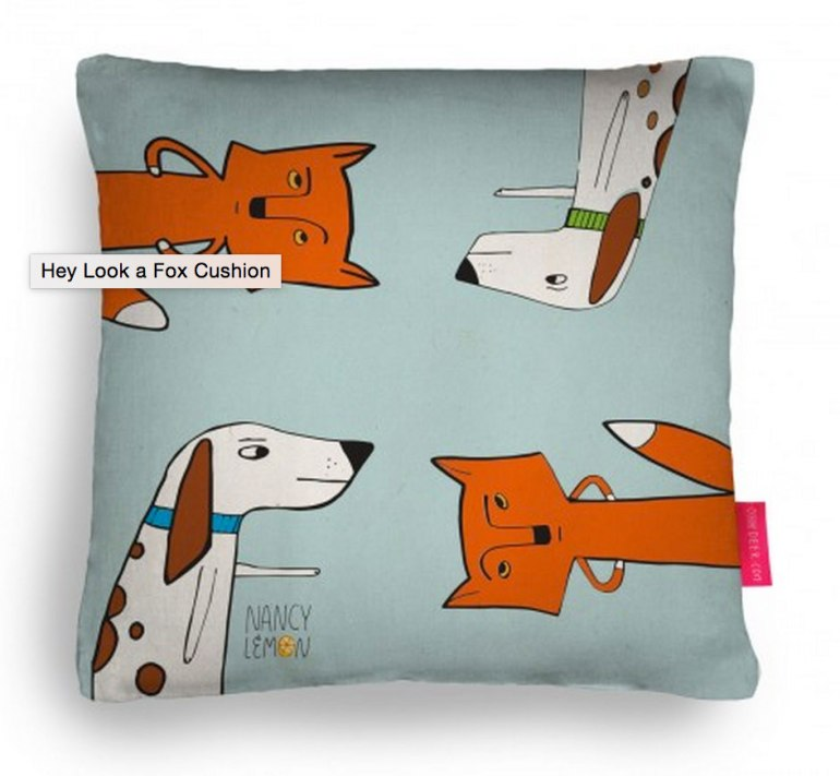 Nancy Lemon Studio©2015 Fox and Hound Cushion