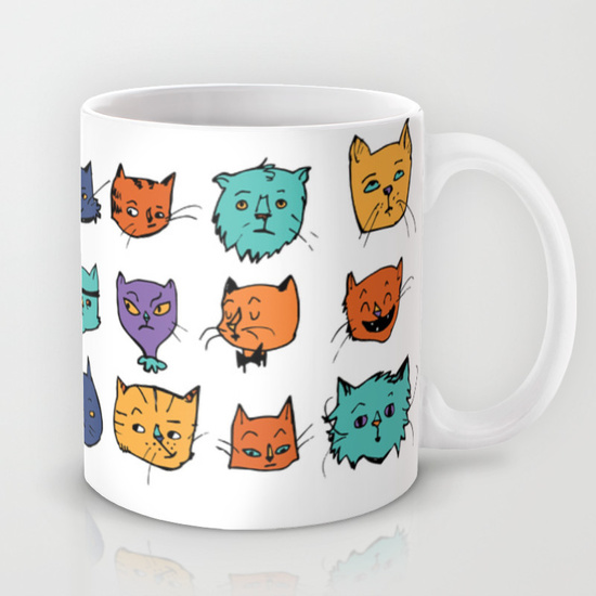 Stylish Cats coffee mug by Nancy Lemon Studio