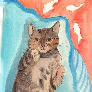 Junebug dreams, pet portrait by Nancy Lemon