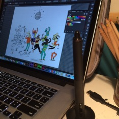 Wacom stylus in front of Adobe Ilustrator