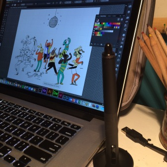 Wacom stylus in front of Adobe Ilustrator
