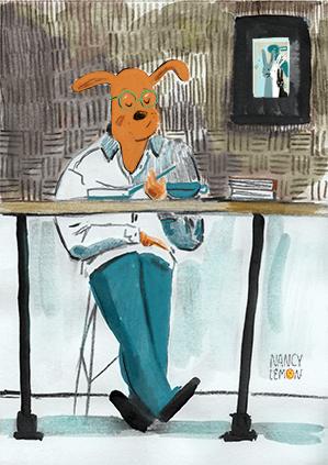 Intellectual Dog, illustration by Nancy Lemon ©2016